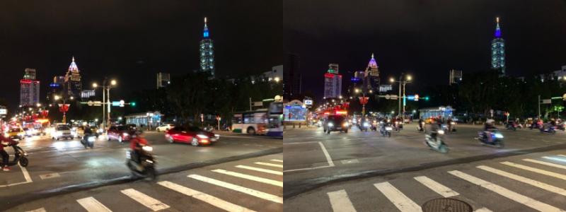 夜景拍攝。(左為X攝、右為XS Max攝)(數位時代提供)