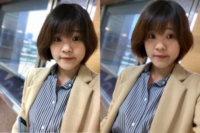 用前置鏡頭「人像模式」自拍,XS Max確實散景效果更細膩,且臉部潤色修飾非常明顯,甚至可以說是「美顏」也不為過。(左為X攝、右為XS Max攝)(數位時代提供)