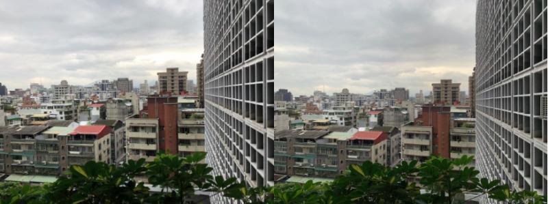 陰天窗外景色。(左為X攝、右為XS Max攝)(數位時代提供)