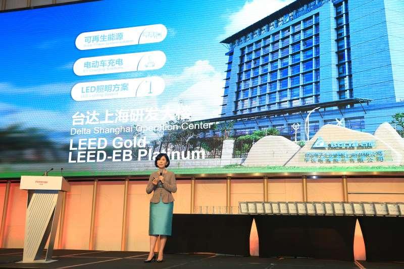 台達品牌長郭珊珊於頒獎典禮發言並分享台達「推己及人」的綠建築之路