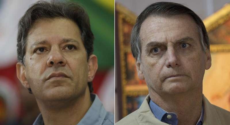 2018年10月28日巴西總統大選第二輪投票,左派巴西勞工黨候選人哈達德(左)對上極右派社會自由黨候選人博索納羅(右)。(美聯社)