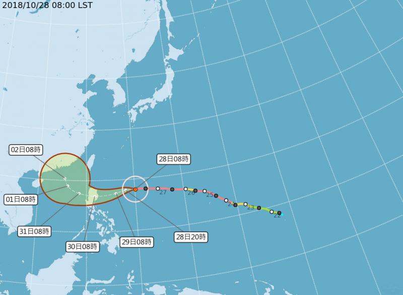 20181028-第26號颱風玉兔28日上午8時,中心位置位於北緯18.00度、東經130.10度,以每小時18公里速度向西進行。(取自中央氣象局)