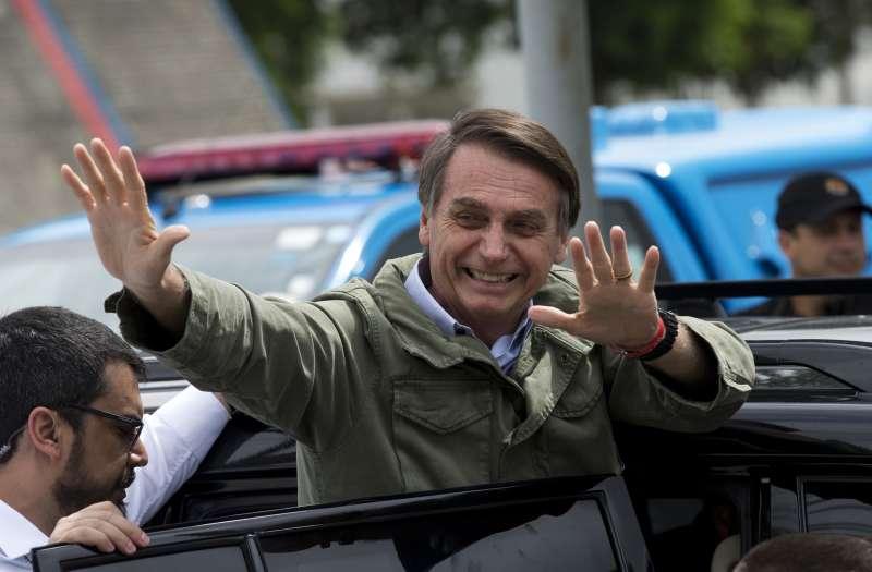 2018年10月28日,極右派巴西社會自由黨候選人博索納羅當選總統。(美聯社)