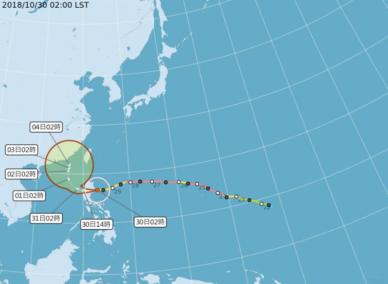 20181030-第26號颱風玉兔,中心位置位於北緯16.70度、東經123.00度,以每小時26公里速度,向西進行。圖為玉兔颱風路徑潛勢預測圖。(取自中央氣象局)
