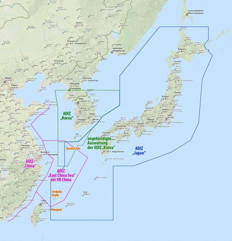 中日韓三國的防空識別區。(Maximilian Dörrbecker@Wikipedia/CC BY-SA 2.0)