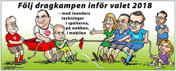 はなE:圖二:瑞典左右陣營拔河,極右SD靠邊站。(作者提供)