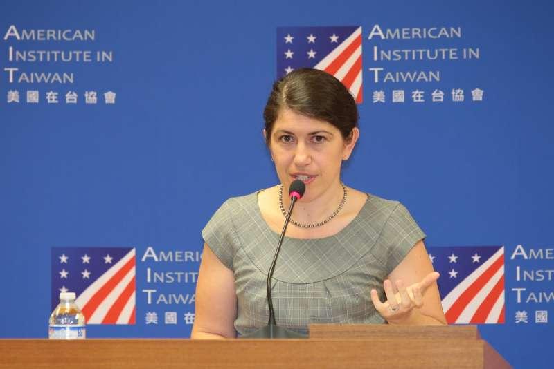 20181031-AIT美國在台協會發言人孟雨荷31日召開記者見面會。(顏麟宇攝)