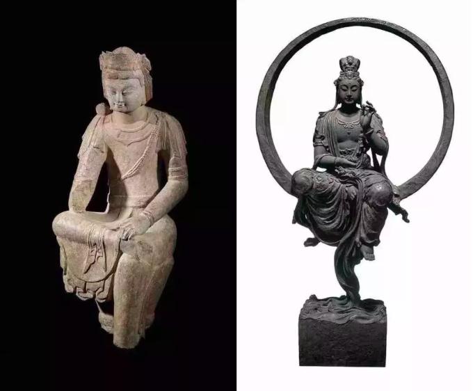 左:震旦博物館館藏 - 北齊(550-551CE)半跏思維菩薩;右:李真作品 - 水月觀音 1992 銅雕。(圖/台北亞洲藝術中心提供)