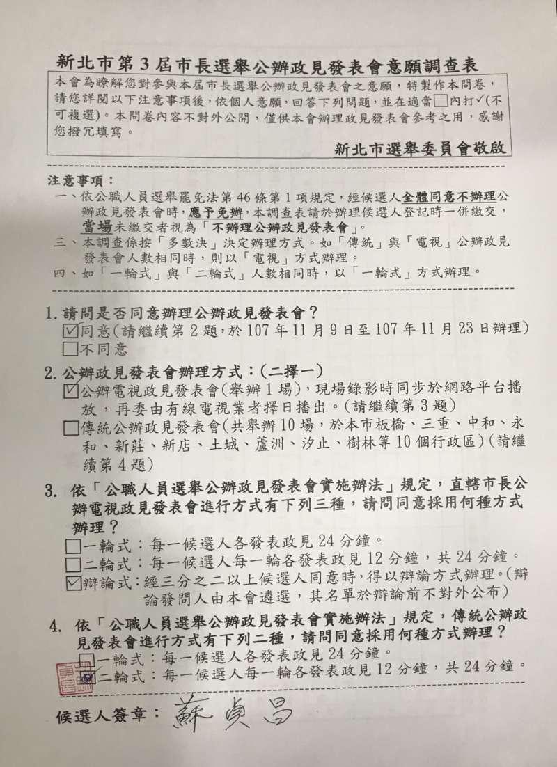 20181107-民進黨新北市長候選人蘇貞昌陣營表示,蘇貞昌在登記參選當天勾選的就是辯論會形式。(蘇貞昌辦公室提供)
