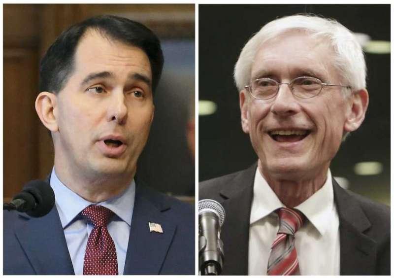 在威斯康辛州的州長選舉中,民主黨籍的候選人埃弗斯(右)擊敗共和黨籍現任州長沃克(左),贏得州長寶座(美聯社)