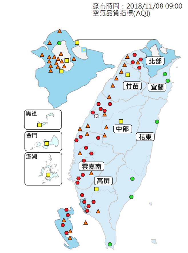 20181108-行政院環境保護署空氣品質監測網上午8時顯示,8日西半部地區有58個測站空氣品質不佳。(取自行政院環保署空氣品質監測網)