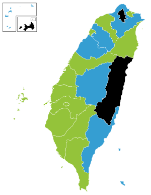20181109-2014年直轄市長及縣市長選舉結果地理分布:民主進步黨(13席,得票率47.55%) 中國國民黨(6席,得票率40.70%) 無黨籍(3席,得票率11.73%)。(圖取自維基百科Tjs2012/CC BY-SA 4.0)