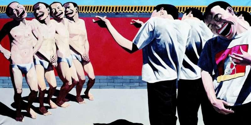 岳敏君1996年《處決》二度創作法國印象派之父Édouard Manet 1867年《處決馬西米連諾皇帝》。(圖/artnet,城市美學新態度提供)