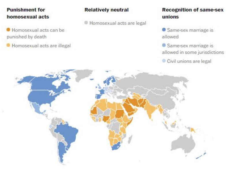 20181112-世界各國對同志行為合法化、非法化分佈圖。(作者提供)