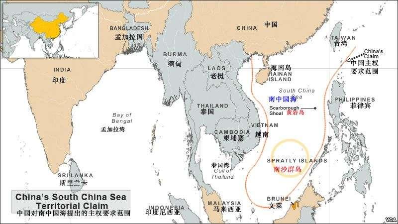中國的南中國海主權要求範圍示意圖(有爭議島嶼以英文與中國名稱標示)(VOA)