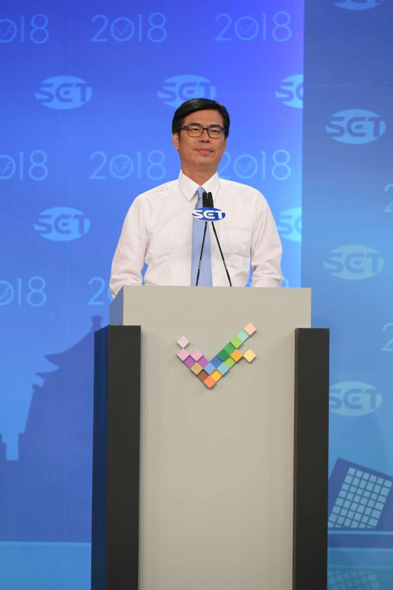陳其邁獨照。20181119_高雄市長候選人陳其邁、韓國瑜辯論會。(三立提供)