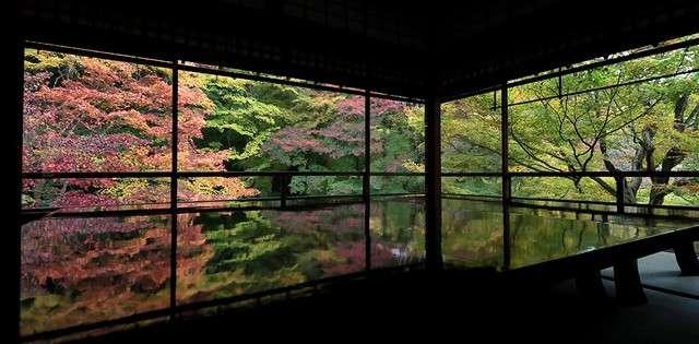 若把視線放低,便會看到窗外景色與桌面倒映景色融為一體,感覺宛如置身奇妙空間。(圖/潮日本)