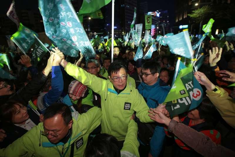 20181123-民進黨台北市長候選人姚文智23日於台北市政府前舉行「國家首都勝選之夜」晚會。(顏麟宇攝)