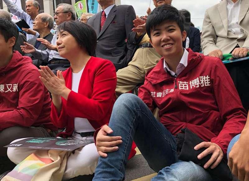 社民黨苗博雅(右)在大安、文山區力壓所有民進黨候選人。(翻攝自苗博雅臉書)