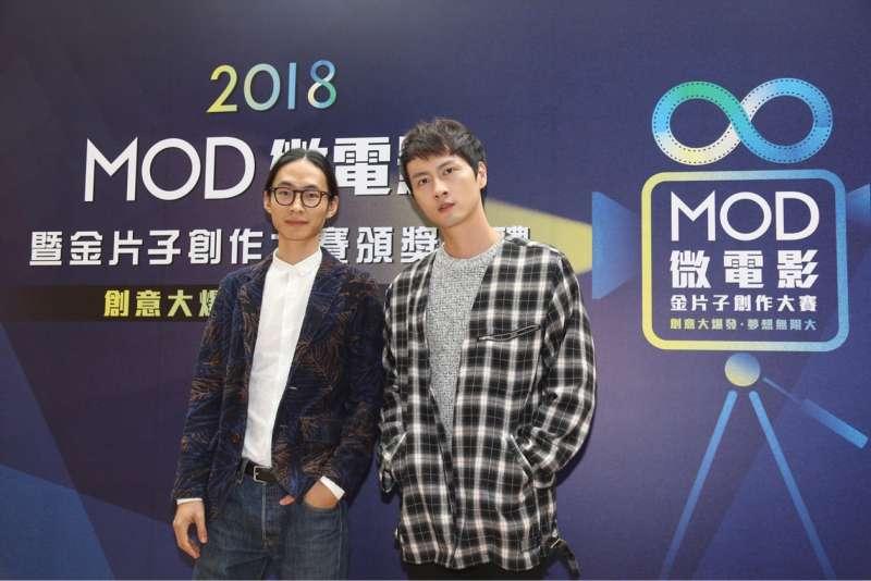 20181127_2018MOD微電影暨金片子創作大賽,今舉行頒獎典禮。(左起)黃河、張捷。(台北市電影委員會提供)