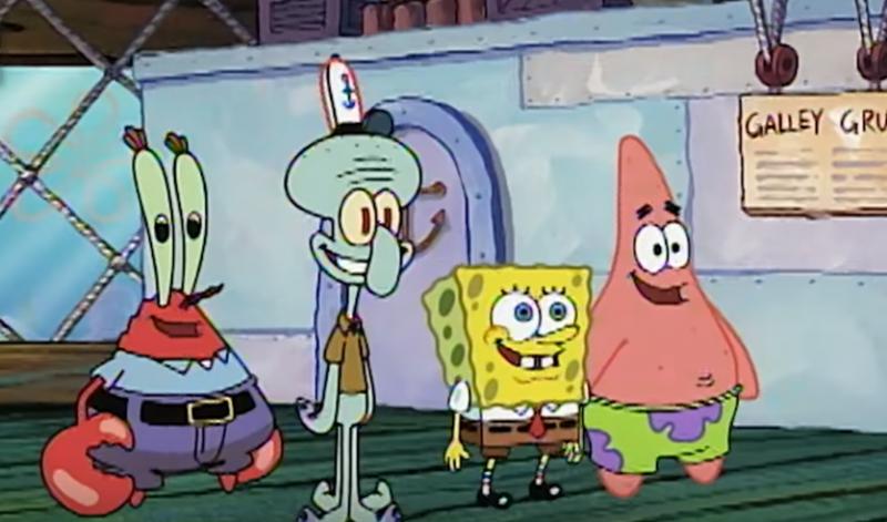 由左至右:蟹老闆、章魚哥、海綿寶寶、派ˋ大星(截自youtube)