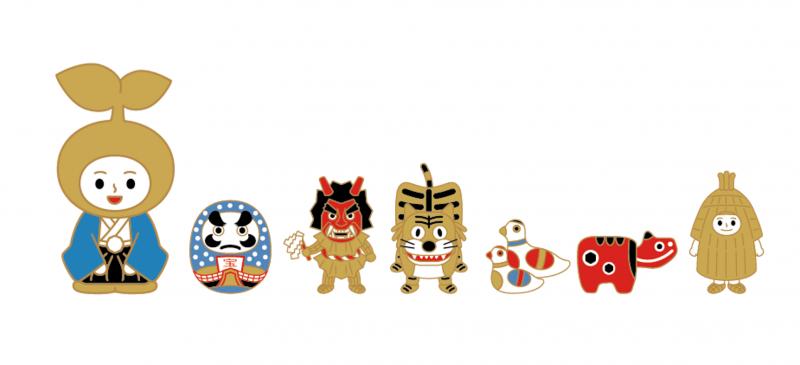 東北吉祥象徵-松川達摩、生鬼、虎舞、鴿形笛、紅牛、加勢鳥。(圖/雲彩之虹提供)