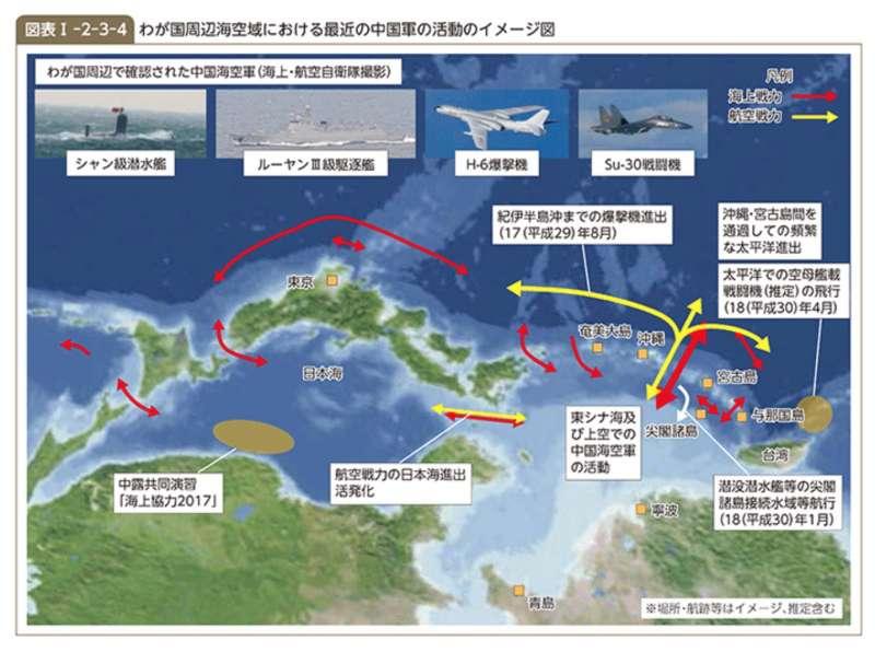 日本平成30年防衛白皮書對解放軍進出第一島鏈相當關注。(平成30年防衛白書)