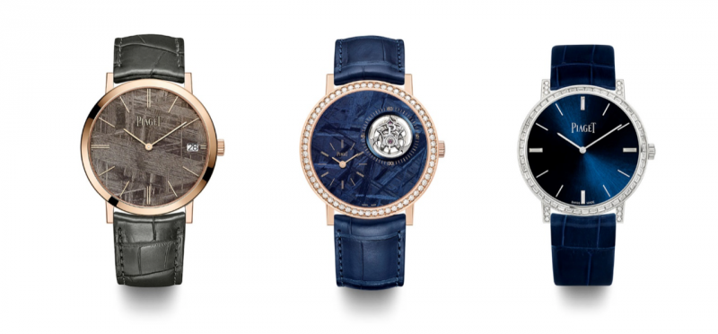 伯爵為2019年日內瓦高級鐘錶展 (SIHH) 預覽呈獻三款全新Altiplano腕錶均薈萃伯爵的經典技術:超薄腕錶設計、非凡寶石鑲嵌及豐富多采的硬寶石,與稀有隕石互相烘托。(圖/PIAGET提供)