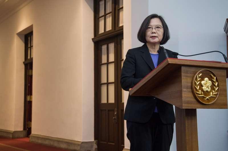 20181206-蔡英文於總統府發表迴廊談話。(甘岱民攝)