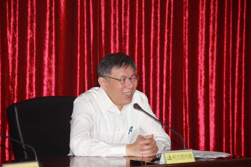 台北市長柯文哲6日上午出席2021扶輪年會備忘錄簽署記者會。(方炳超攝)