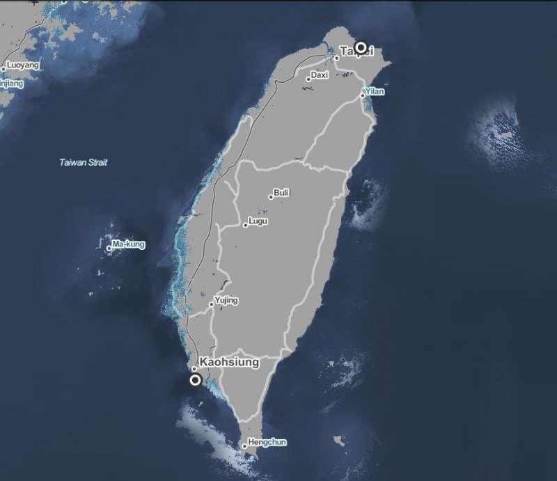 台灣海平面上升模擬圖,海平面上升5公尺的話,台灣西半部濱海地區將被淹沒。(取自「Surging Seas」網站)