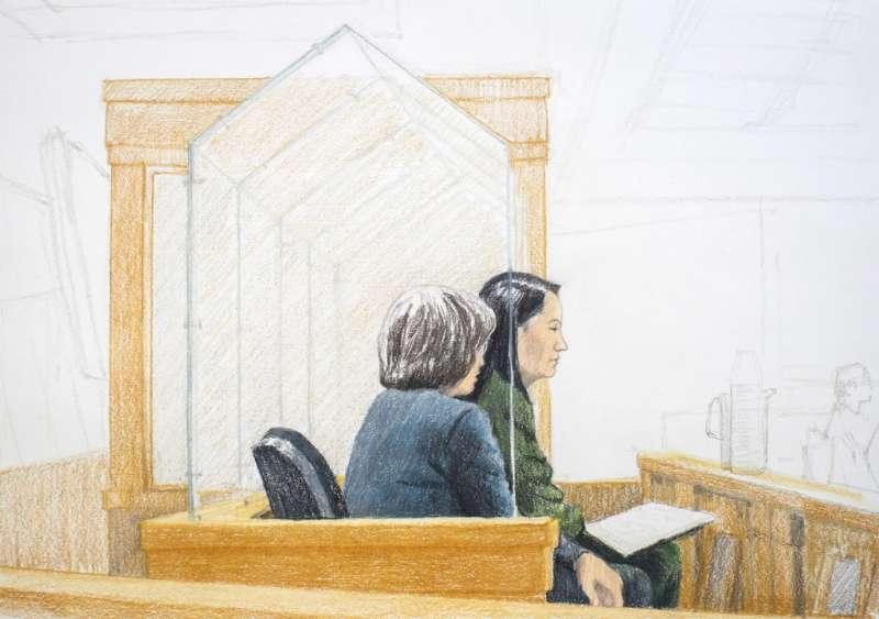 2018年12月7日,華為副董事長孟晚舟(右)出席保釋聽證會。(AP)