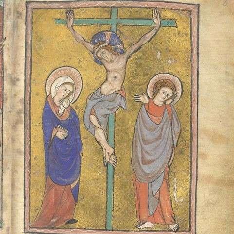 「神聖典型」範例。不知名繪者,《The Map Psalter》中繪畫基督受難,1265年,藏於大英圖書館。(作者提供)