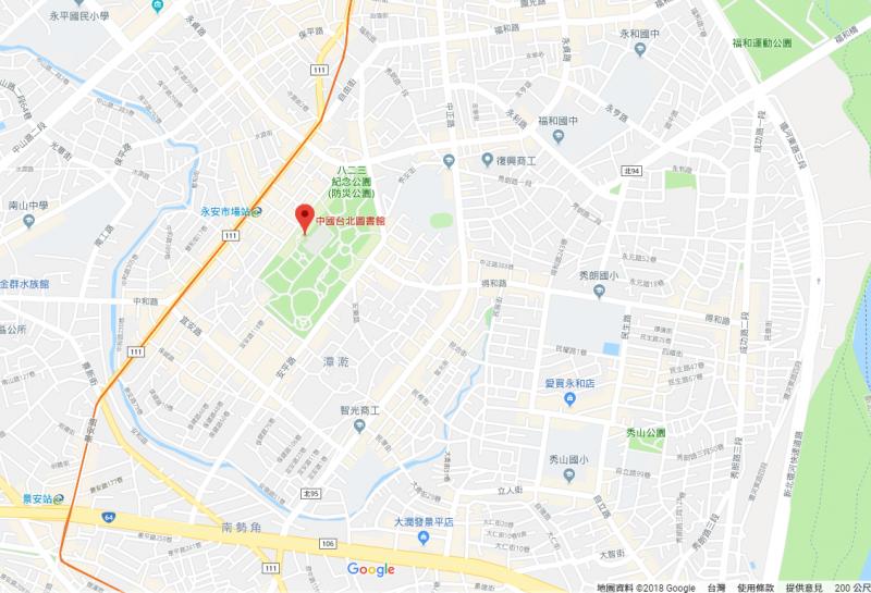 20181212-位於新北市中和區的國立台灣圖書館(國台圖),近日在Google地圖上的名稱被改為「中國台北圖書館」。(翻攝自Google Map)