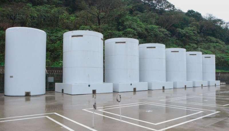 核一廠的露天乾貯設施「卡關」,除役恐怕面臨挑戰。(時代力量黨團提供)