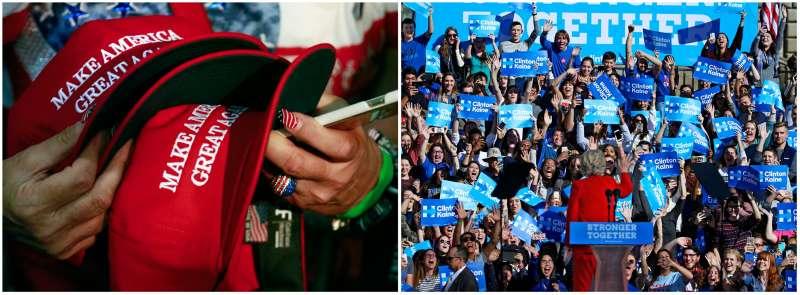 川普支持者(左)與希拉蕊支持者(右)(AP)