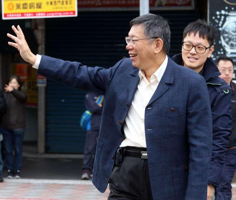 20181213-台北市長柯文哲下午和總統蔡英文在北門碰面。(蘇仲泓攝)