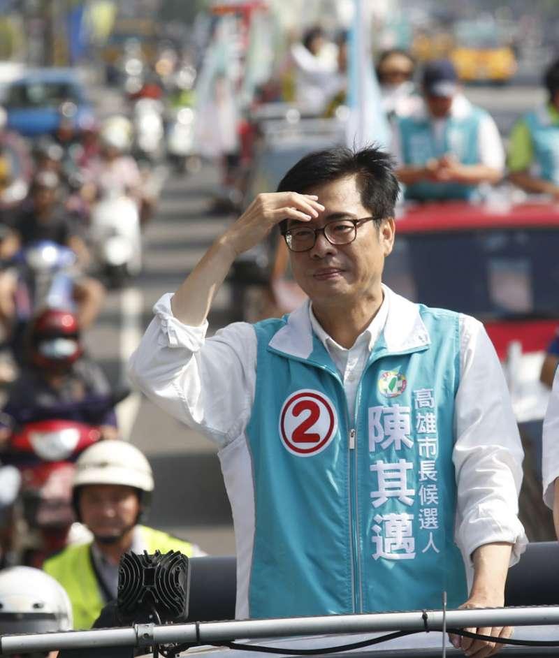 選後人氣強強滾的陳其邁,因心傷未癒棄選黨主席。(郭晉瑋攝)
