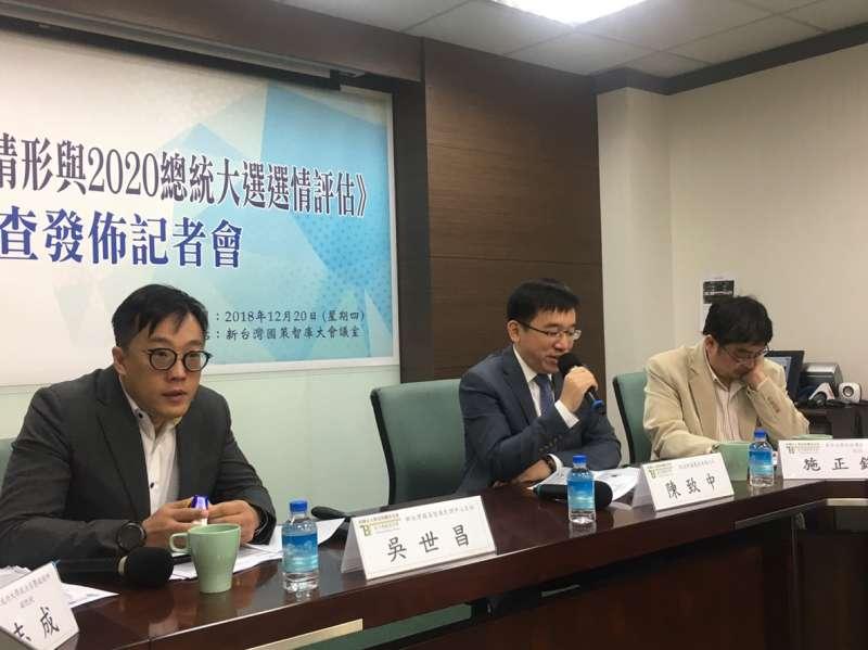 20181220-新台灣國策智庫今(20)發布最新民調,指出有51.4%總統蔡英文應替民進黨敗選負責。(周思宇攝)