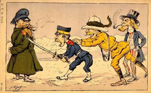 圖中的英國紳士與法國女郎毫不畏懼的面對面的對峙,而躲在兩人後面的日本與蘇聯則是劍拔弩張,仗這兩國的勢準備開戰。(作者提供)