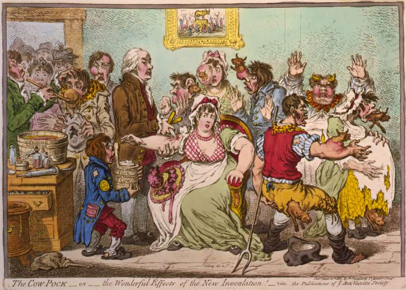 英國諷刺漫畫家吉爾雷(James Gillray)1802年的畫作中,生動描繪當時人們對疫苗接種的恐懼。(維基百科公有領域)