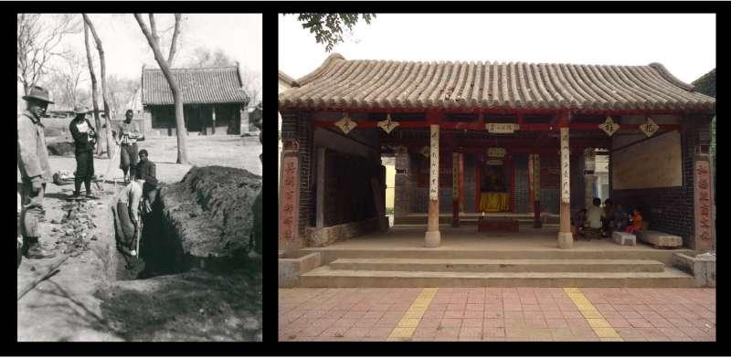 左圖為 1932 年史語所考古人員在五聖廟前的發掘,右圖為 2018 年王舒俐攝於五聖廟。(圖/研之有物)