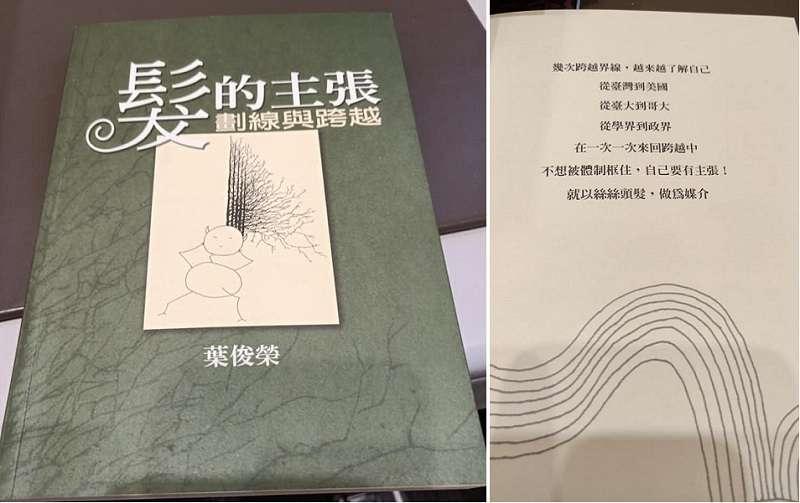 葉俊榮極特殊的作品:《髮的主張--劃線與跨越》。(蔡詩萍提供)