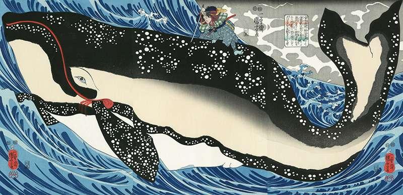 江戶時代末期的知名浮世繪師歌川國芳的畫作:宮本武藏擊退鯨魚。(翻攝網路)