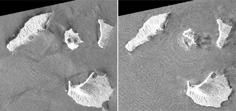 衛星照片顯示印尼阿納克.喀拉喀托火山噴發前後的差異(美聯社)