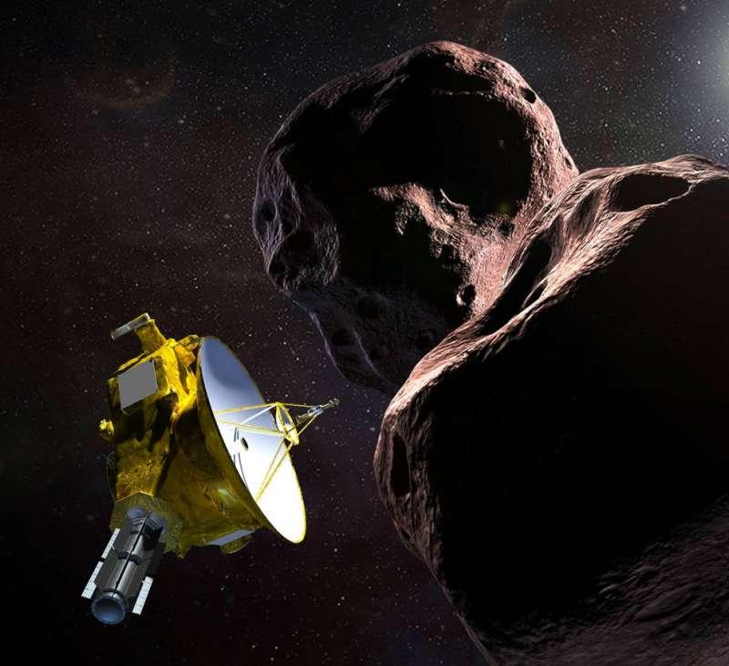 美國航空暨太空總署(NASA)「新視野號」(New Horizons)太空船探測小行星「終極遠境」(Ultima Thule)的示意圖。(NASA)
