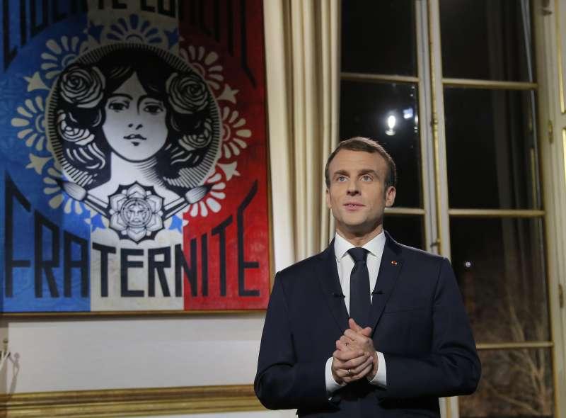 2018年12月31日晚間,法國總統馬克宏發表新年談話(美聯社)