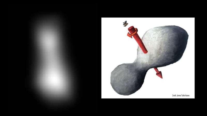 美國航空暨太空總署「新視野號」(New Horizons)造訪「終極遠境」(Ultima Thule),初步拍下終極遠境的相片。(約翰霍普金斯大學應用物理實驗室)