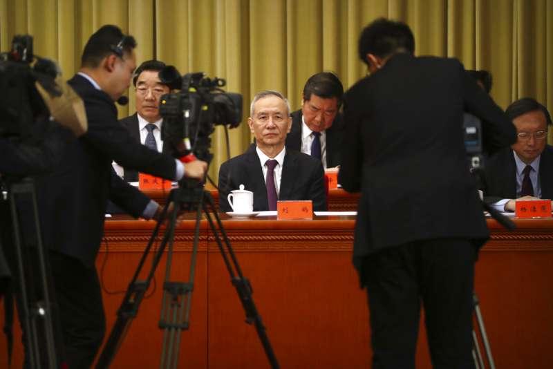 習近平2日在人民大會堂發表《告台灣同胞書》,圖為習近平的財經智囊劉鶴。(美聯社)