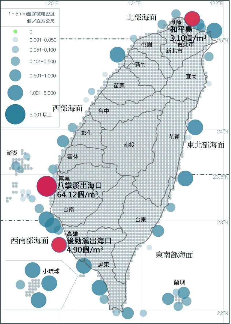 圖為台灣海域塑膠微粒分布密度圖